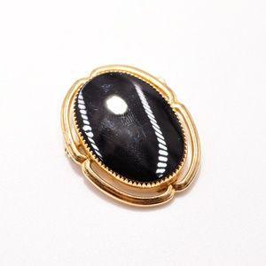 Catamore 12k Gold filled black oval brooch/ pin
